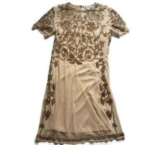 Asos Short Sleeve Party Dress Gold Beading Size 8